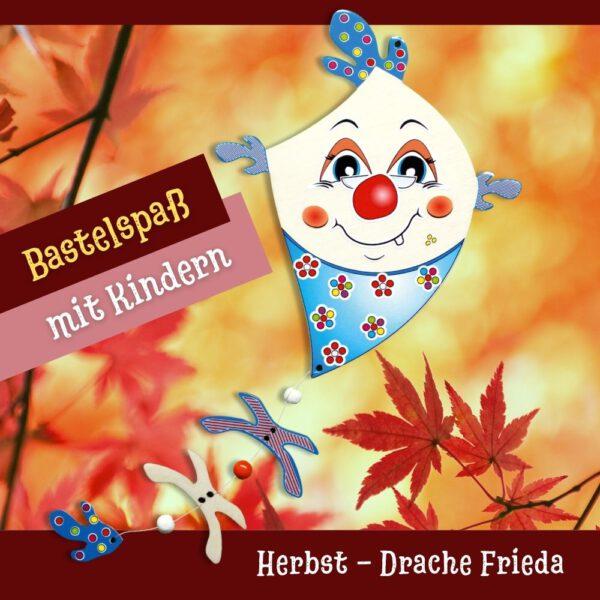 Tolle Bastelideen im Herbst für Kinder - Holzfigur Drache Frieda