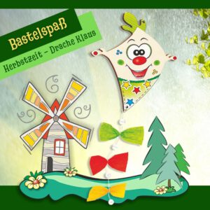 Bastelset für Kinder - Holzfigur Drache Klaus