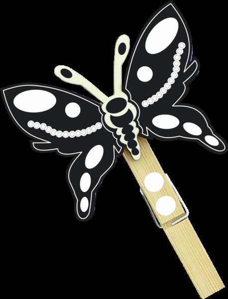 Holzfigur Schmetterling Filou - schwarz