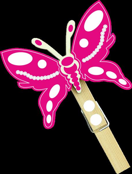 Holzfigur Schmetterling Lilou - magenta
