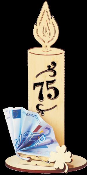 Holzkerze zum 75. Geburtstag mit Geldklammer