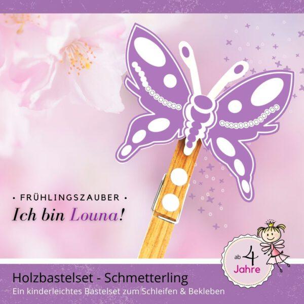 Bastelidee für Kinder - Holzfigur Schmetterling Louna