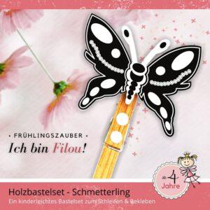 Basteln Frühling Kinder - Holzfigur Schmetterling Filou