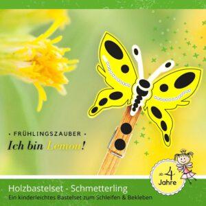 Basteln für Kinder - Holzfigur Schmetterling Lemon