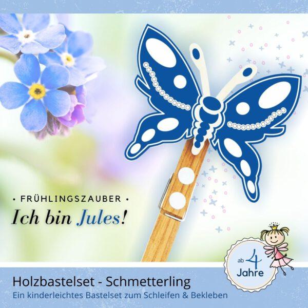 Basteln im Frühling - Holzfigur Schmetterling Jules