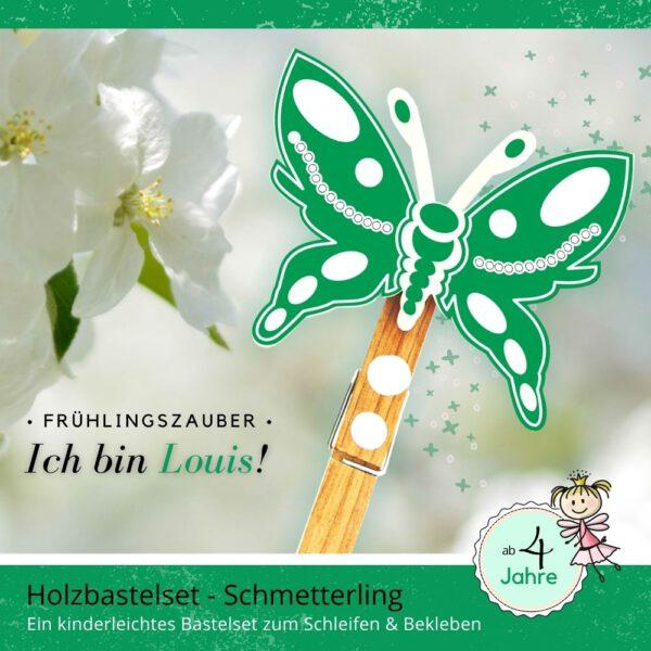 Basteln mit Kindern 4 Jahre - Holzfigur Schmetterling Louis