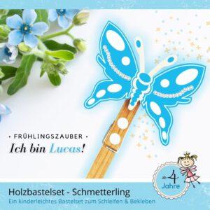 Bastelset Kinder - Holzfigur Schmetterling Lucas