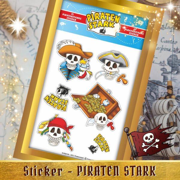 Etiketten kleben - Sticker Piraten stark