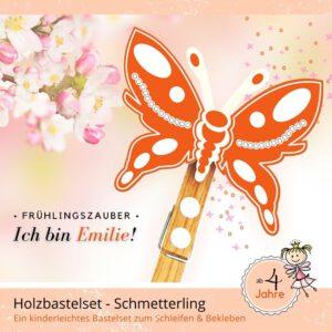Frühlingsbasteln Kinder - Holzfigur Schmetterling Emilie