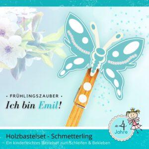 Schmetterlinge basteln mit Kindern - Holzfigur Schmetterling Emil