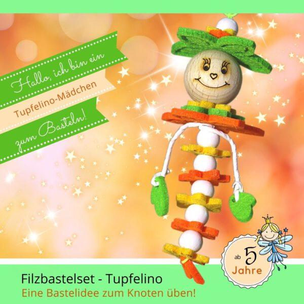 Bastelideen einfach - Filzbastelset Tupfelino-Mädchen grün-orange