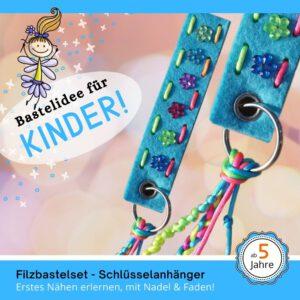 Bastelideen für Kinder - Filz-Schlüsselanhänger hellblau
