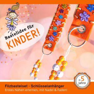 Geschenke basteln mit Kinder - Filz-Schlüsselanhänger orange