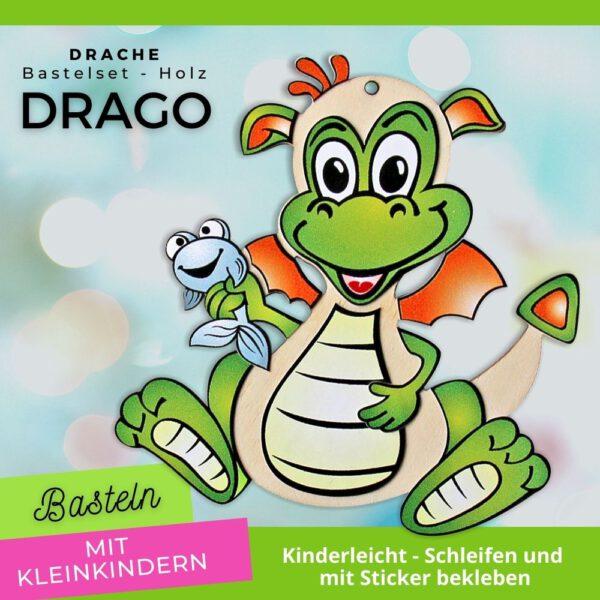 Basteln mit Kleinkinder - Holzfigur Drache Drago