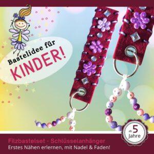 Muttertagsgeschenke basteln Kinder - Filz-Schlüsselanhänger lila