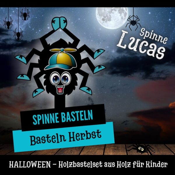 Basteln im Herbst - Holzfigur Spinne Lucas