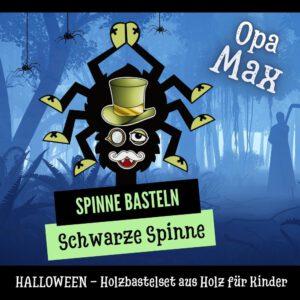 Ein schwarze Spinnen basteln - Holzfigur Spinne Opa Max