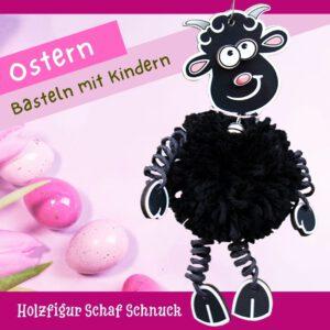 Ostern basteln mit Kindern - Holzfigur Schaf Schnuck