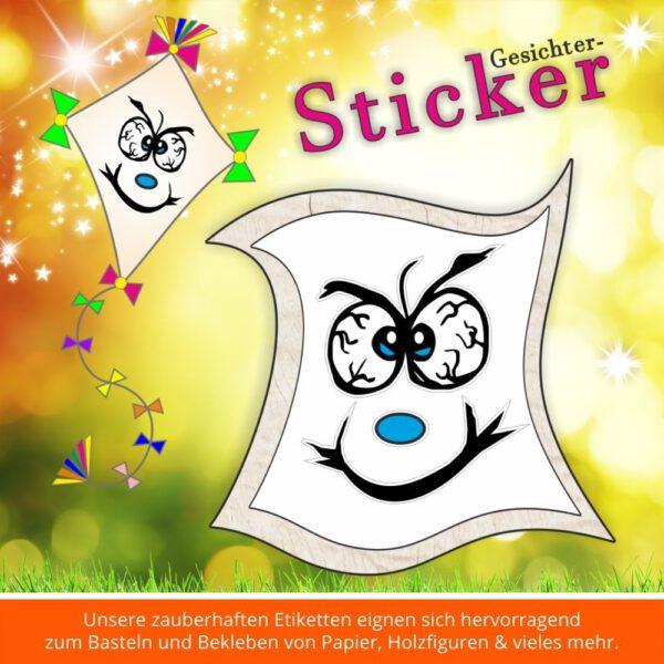 Aufkleber Kinder ♥ Sticker-Gesicht grimmig