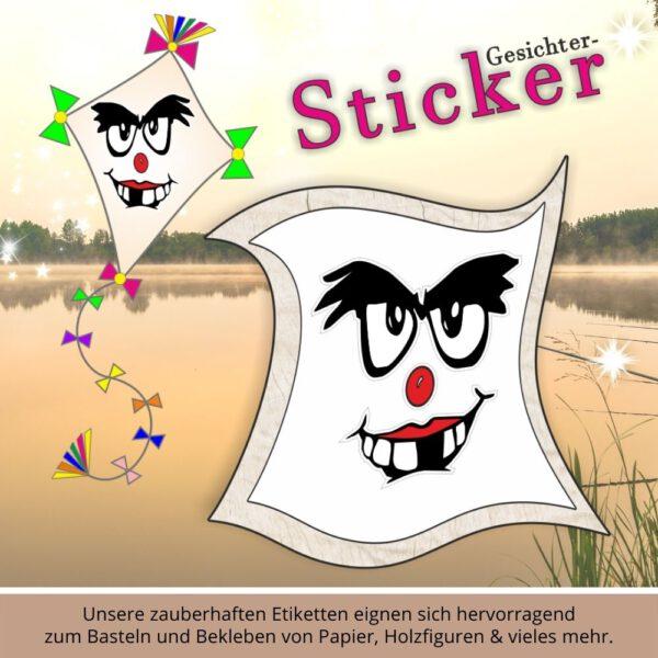 Aufkleber für Kinder ♥ Sticker-Gesicht zahnlos
