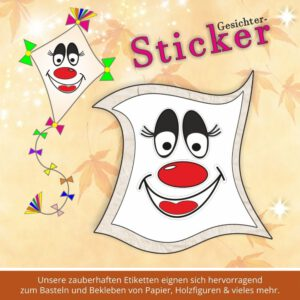 Kinder Aufkleber ♥ Sticker-Gesicht dicke Nase