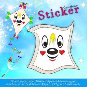 Klebeetiketten Kinder ♥ Sticker-Gesicht Herzchen