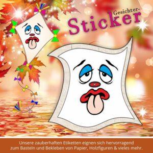 Klebeetiketten Kinder ♥ Sticker-Gesicht mit Zunge