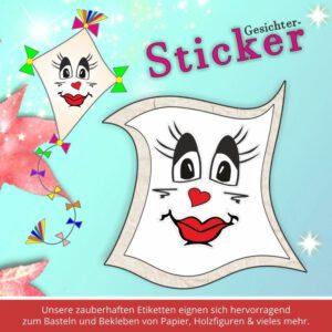 Klebeetiketten Kindergarten ♥ Sticker-Gesicht Kussmund