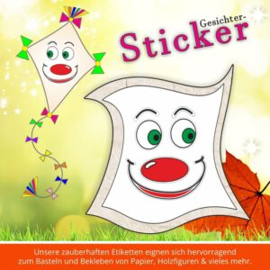 Klebeetiketten Kindergarten ♥ Sticker-Gesicht lachen