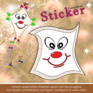 Klebeetiketten für Kindergarten ♥ Sticker-Gesicht grinsen