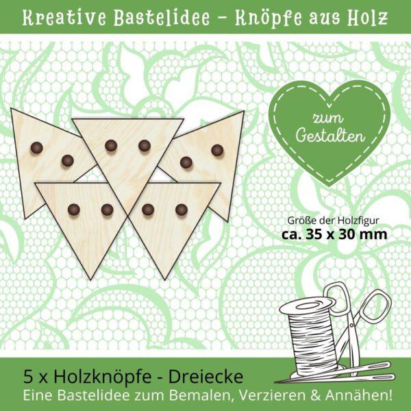 Knöpfe annähen - Holzknöpfe Dreiecke