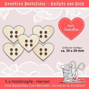 Kreative Knöpfe - Holzknöpfe Herzen
