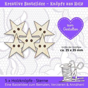 Lustige Knöpfe - Holzknöpfe Sterne