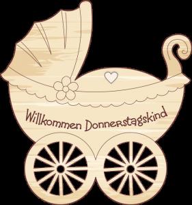Geschenkanhänger Kinderwagen Donnerstagskind