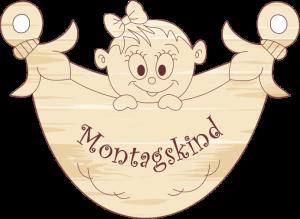 Geschenkanhänger Windel Mädchen Montagskind