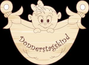 """Geschenkanhänger Windel """"Donnerstagskind-Mädchen"""""""
