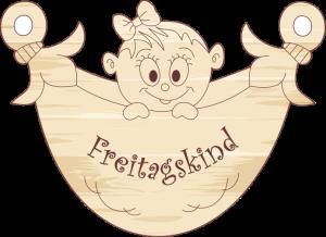 """Geschenkanhänger Windel """"Freitagskind-Mädchen"""""""