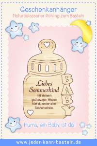 "Geschenkanhänger Nuckelflasche ""Sommerkind"""