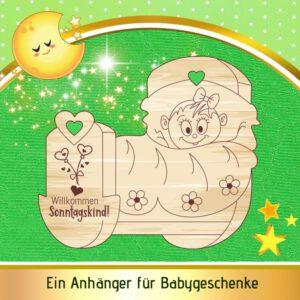 Baby Geschenke Mädchen - Geschenkanhänger Wiege - Sonntagskind