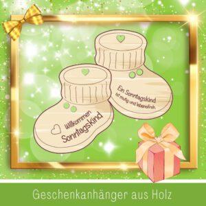 Baby Geschenkkorb - Geschenkanhänger Babyschuhe Sonntagskind