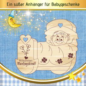 Baby Junge Geschenk - Geschenkanhänger Wiege Montagskind