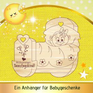 Gastgeschenke Babyparty - Geschenkanhänger Wiege - Samstagskind