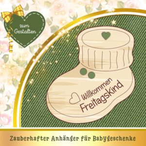 Geburt Baby Glückwunsch - Geschenkanhänger Babyschuh Freitagskind