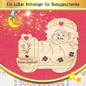 Geburt Geschenke Junge - Geschenkanhänger Wiege Donnerstagskind