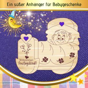 Geldgeschenk Baby - Geschenkanhänger Wiege Freitagskind
