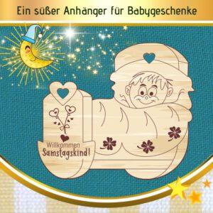 Geldgeschenk Geburt - Geschenkanhänger Wiege Samstagskind