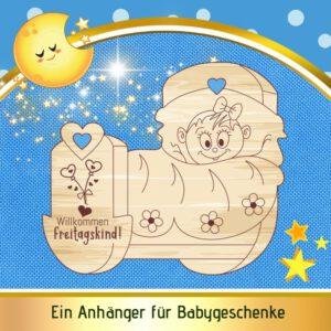 Geschenk Geburt Mädchen - Geschenkanhänger Wiege - Freitagskind