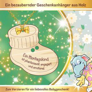 Außergewöhnliche Babygeschenke - Geschenkanhänger Babyschuh Montagskind