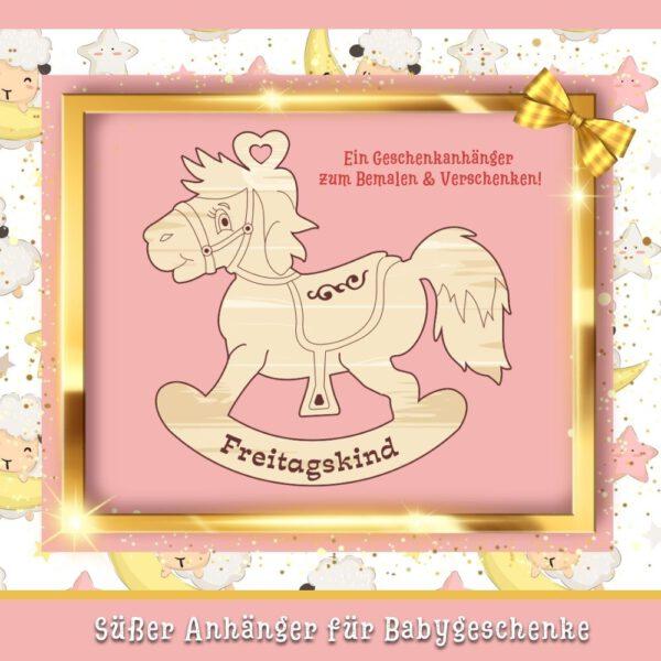 Baby Geburtsgeschenke Geschenkanhänger Schaukelpferd Freitagskind