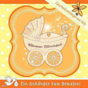 Baby Geschenke selber machen - Geschenkanhänger Kinderwagen Mittwochskind